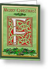 Celtic Christmas F Initial Greeting Card