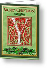 Celtic Christmas Initial Y Greeting Card
