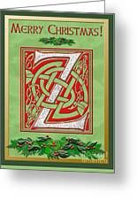 Celtic Christmas Initial Z Greeting Card