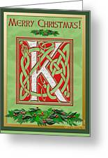 Celtic Christmas K Initial Greeting Card