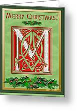 Celtic Christmas M Initial Greeting Card