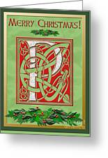 Celtic Christmas P Initial Greeting Card