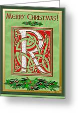 Celtic Christmas R Initial Greeting Card