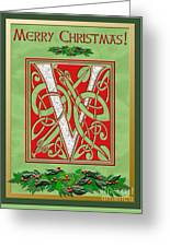 Celtic Christmas V Initial Greeting Card