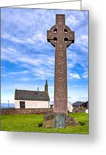 Celtic Cross On The Scottish Coast At North Berwick Greeting Card by Mark E Tisdale