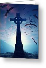 Celtic Cross With Swarm Of Bats Greeting Card