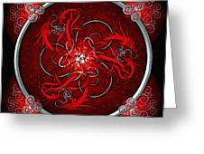 Celtic Dragons - Red Greeting Card by Richard Barnes