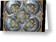 Celtic Hearts - Gold And Silver Greeting Card by Richard Barnes