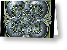 Celtic Hearts - Green And Silver Greeting Card
