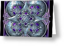 Celtic Hearts - Purple And Silver Greeting Card by Richard Barnes