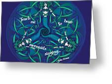 Celtic Mermaid Mandala In Blue And Green Greeting Card