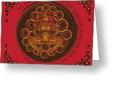 Celtic Pagan Fertility Goddess In Red Greeting Card
