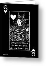 Celtic Queen Of Hearts Part I In Black And White Greeting Card