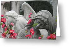 Cemetery Stone Angels And Flowers Greeting Card