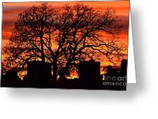 Cemetery Sunset Greeting Card