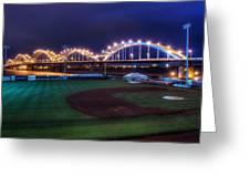 Centennial Bridge And Modern Woodmen Park Greeting Card