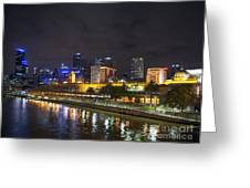 Central Melbourne Skyline At Night Australia Greeting Card
