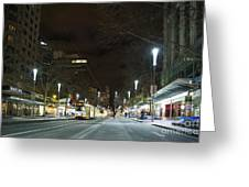 Central Melbourne Street At Night In Australia Greeting Card