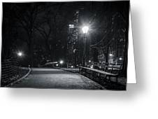 Central Park At Night Greeting Card