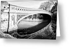 Central Park Bridges Bow Bridge Spanning Lake Greeting Card