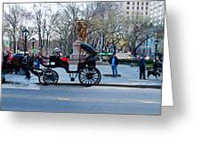 Central Park Horse Carriage Station Panorama Greeting Card