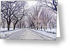 Central Park Mall In Winter Greeting Card
