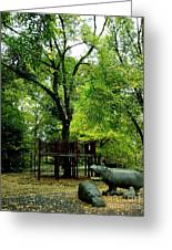 Central Park Playground Greeting Card by Claudette Bujold-Poirier