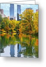 Central Park Pond Autumn Reflections Greeting Card