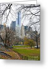 Central Park South Buildings From Central Park Greeting Card