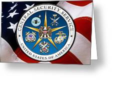 Central Security Service - C S S Emblem Over American Flag Greeting Card