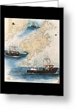 Centurion Trawl Fishing Boat Nautical Chart Art Greeting Card