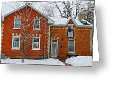 Century Home In Winter 3 Greeting Card