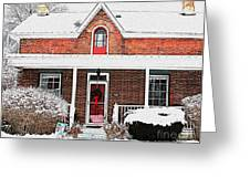 Century Home With Christmas Wreath Greeting Card