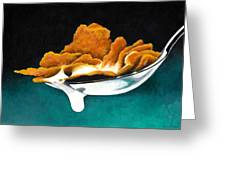 Cereal In Spoon With Milk Greeting Card by Janice Dunbar