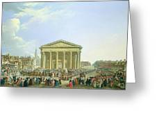 Ceremony Of Laying The First Stone Of The New Church Of St. Genevieve In 1763, 1764 Oil On Canvas Greeting Card
