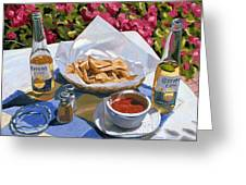 Cervezas Y Nachos - Coronas With Nachos Greeting Card
