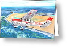 Cessna 206 Flying Over The Outer Banks Greeting Card