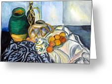 Cezanne Still Life With Apples In Watercolor Greeting Card