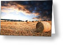 Cezanne Style Digital Painting Beautiful Golden Hour Hay Bales Sunset Landscape Greeting Card