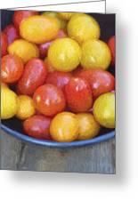 Cezanne Style Digital Painting Fresh Juicy Heirloom Tomatoes In Rustic Setting Greeting Card