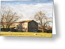 Cezanne Style Digital Painting Panorama Landscape Traditional Stone Barn In Autumnal Countrysid Greeting Card