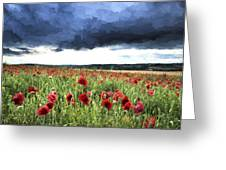 Cezanne Style Digital Painting Stunning Poppy Field Landscape In Summer Sunset Light Greeting Card
