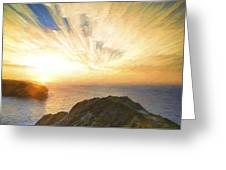 Cezanne Style Digital Painting Sunrise Ocean Landscape Greeting Card