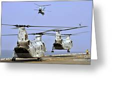 Ch-46e Sea Knight Helicopters Take Greeting Card