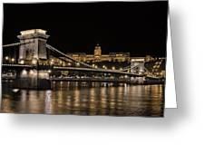 Chain Bridge And Buda Castle Winter Night Greeting Card
