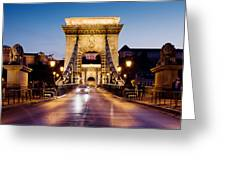 Chain Bridge In Budapest At Night Greeting Card