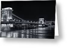 Chain Bridge Night Bw Greeting Card