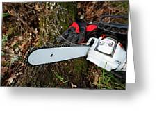 Chainsaw And Gloves Greeting Card