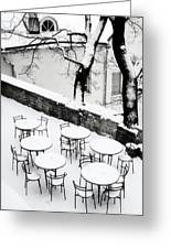 Chairs And Tables In Snow Greeting Card