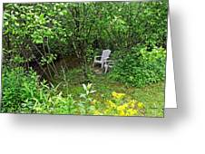 Chairs By The Creek In Summer Greeting Card